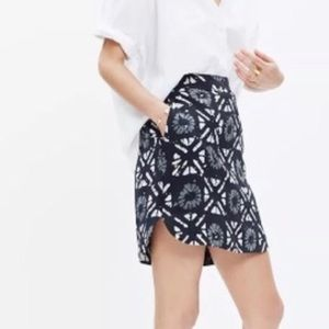 Madewell Distance Silk Skirt in Batik Grid